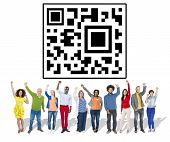 foto of qr-code  - Diverse People Arms Raised QR Code Concept - JPG
