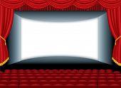 stock photo of cinema auditorium  - vector illustration of the empty cinema with auditorium - JPG