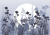 foto of moon-flower  - illustration with grey flowers and grass under moon - JPG