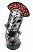stock photo of zipper  - 3D concept of censorship with studio microphone and closed zipper - JPG