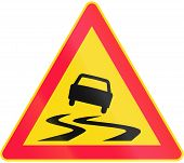 picture of slippery-roads  - Road sign 144 in Finland  - JPG