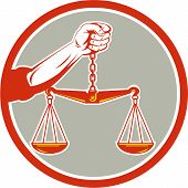 picture of scale  - Illustration of a hand holding weighing scale scales of justice viewed from front set inside circle on isolated background done in retro style - JPG
