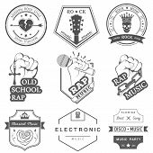 picture of music symbol  - Set of vector badges and logos of rock music and rap classical music electronic music and disco - JPG