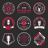 ������, ������: Set Of Vintage Badges Of Rock Music And Rock And Roll