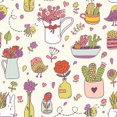 stock photo of house-plant  - Sweet floral seamless pattern made of different house plants in bright colors - JPG