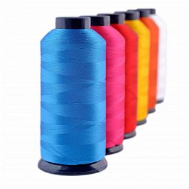 picture of rayon  - Spools of threads isolated on a white background - JPG