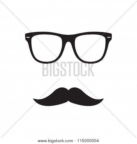 Glasses with mustache.  Old fashioned gentleman accessories icon. Retro hipster style. Vector.