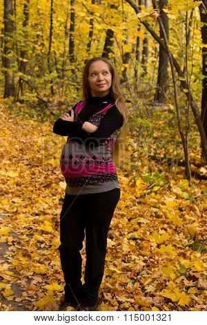 Walk In Golden Autumn Forest Expectant Mother