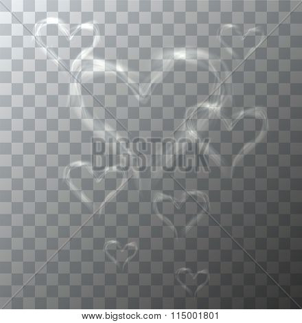 Vector modern heart from smoke on sample background