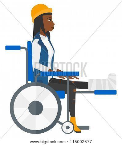 Patient sitting in wheelchair.