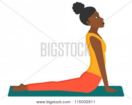 Woman practicing yoga.