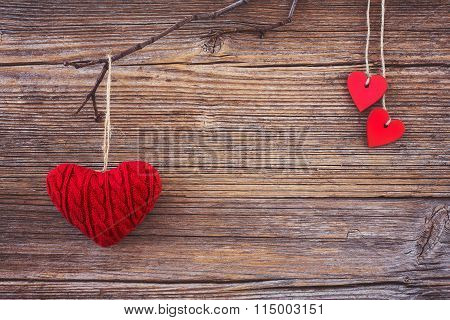 Valentine Background.red Hearts On Wooden Background. Toned, Soft Focus, Copy Space