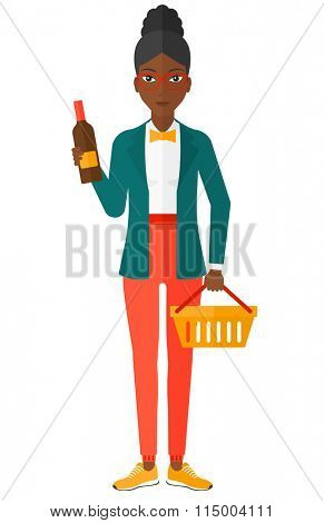 Customer with shopping basket and bottle of wine.