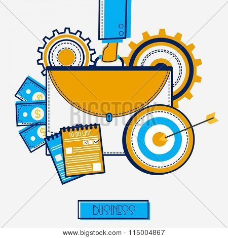 Creative illustration of businessman hand holding briefcase with different infographic elements on grey background.
