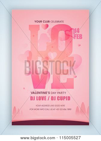 Pink Flyer, Banner or Pamphlet design with stylish text Love for Valentine's Day Party celebration.