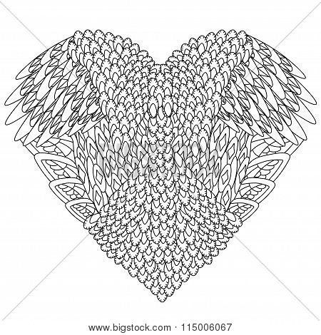 Coloring book for adult and older children. Coloring page with zentangle heart pattern