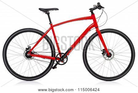New Red Bicycle Isolated On A White
