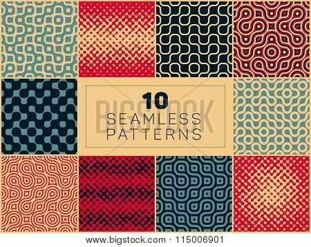 Set of Ten Vector Seamless Wavy Lines Geometric Irregular Halftone Retro Patterns In Red Tan and Nav