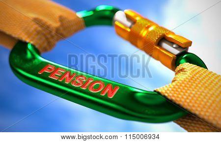 Pension on Green Carabiner between Orange Ropes.