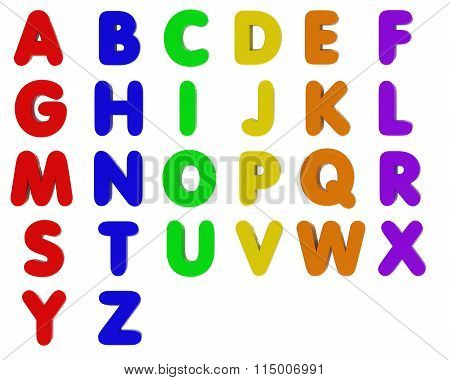 Fridge Magnet Alphabet Letters Isolated On White