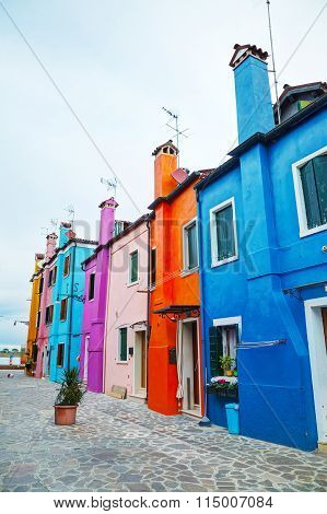 Brightly Painted Houses At The Burano Canal