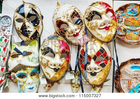 Masquerade Venetian Masks  On Sale In Venice, Italy