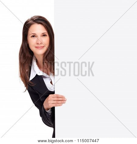 Young Business Woman Holding Board