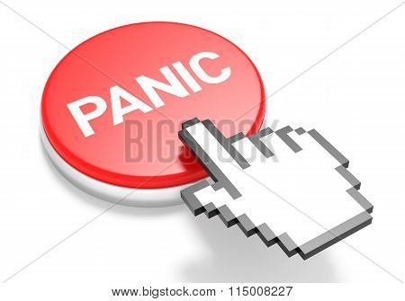 Mouse Hand Cursor On Red Panic Button. 3D Illustration.