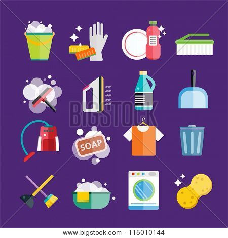 Cleaning icons set. Icons of clean service and cleaning tools. Housework cleaning icons set. Home clean, sponge icon, broom icon, bucket icon, mop icon, cleaning brush icon