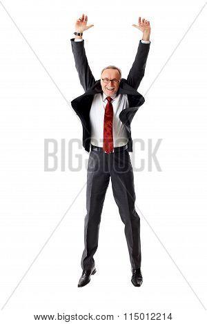 Mature Business Man Jumping