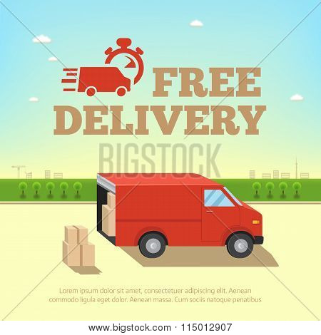 Illustration Of Delivery Service Concept. Truck Van For Fast Shipping
