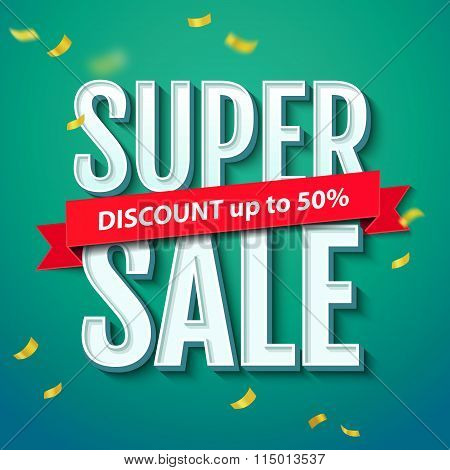 Super Sale Inscription, On The Blue Background With Confetti. Super Sale Banner, Poster