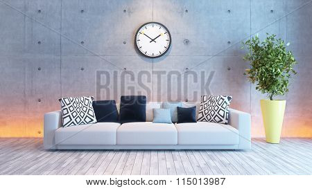 Living Room Interior Design With Under Light Concrete Wall
