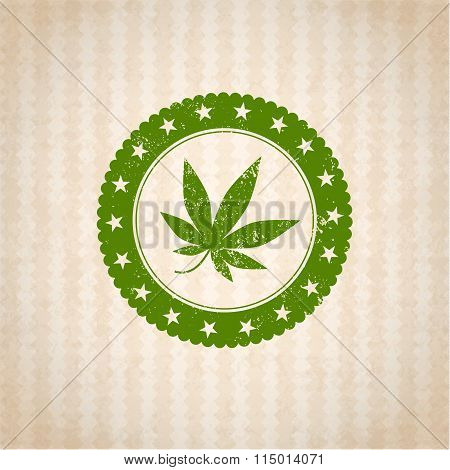 medical weed badge isolated in cartoon backgraund