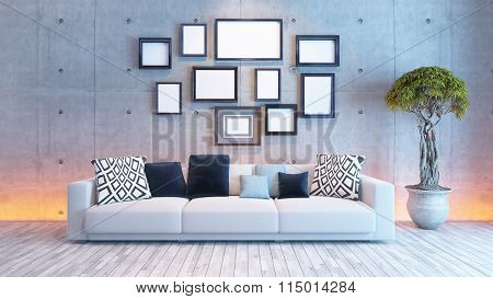Living Room Interior Design With Concrete Wall And Picture Frames