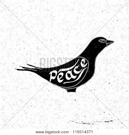 Hand drawn dove with the inscription peace