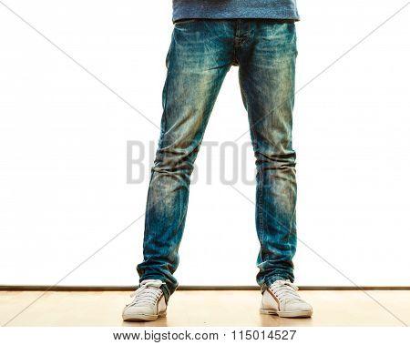 Man Legs In Denim Trousers Casual Style