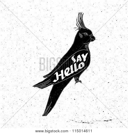 Parrot hand drawn with inscription say hello