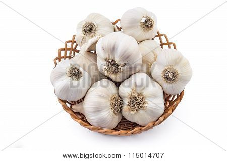 Garlic in woven basket