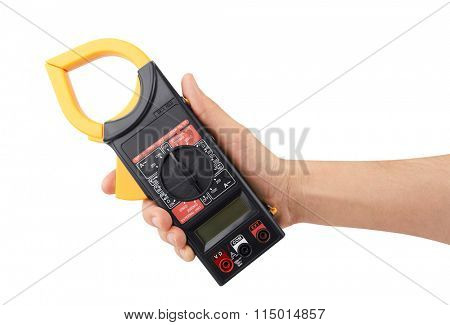 Digital multimeter in hand isolated on white background
