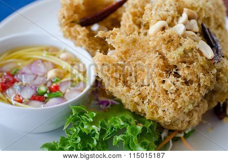 Crispy Catfish Salad With Spicy Sauce, Thai Food