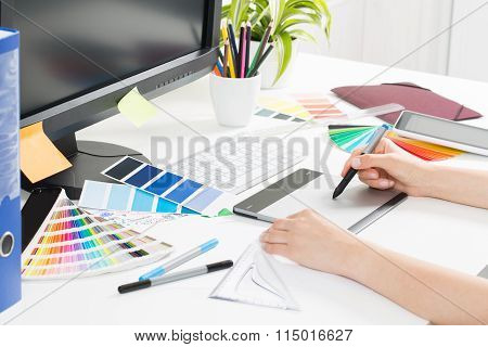 Graphic Designer At Work. Color Samples.