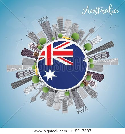 Australia Skyline with Gray Buildings and Blue Sky. Vector illustration. Business and tourism concept with skyscrapers. Image for presentation, banner, placard or web site