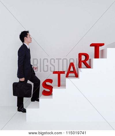 Business Man Start Stepping Up On Stairs To Success