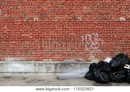 corner of city, brick wall, trash bags and painted wall