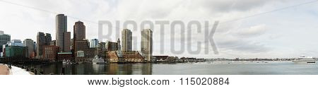 Boston harbor skyline in winter