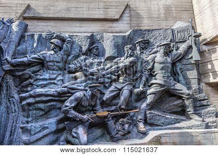 Soviet Soldiers Attacking World War 2 Monument Great Patriotic War Museum Kiev Ukraine