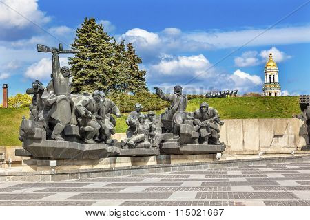Soviet Soldiers Attacking World War 2 Monument Great Patriotic War Museum Lavra Kiev Ukraine