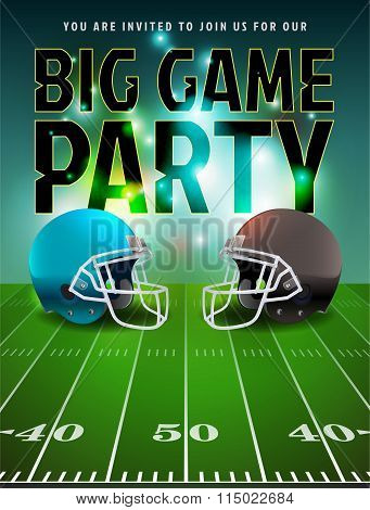 American Football Big Game Party Poster