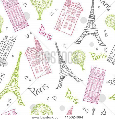 Vector Travel Romantic Paris Streets Seamless Pattern with Eifel Tower, houses, trees and hearts.